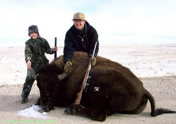 Weapons allowed for Bison Hunts  You can hunt your buffalo with a bow, black powder rifle or large caliber rifle. We will guide you within shooting range of the animal of your choice. After you have shot your bison, we will transport your animal to a processing facility nearby that specializes in bison.